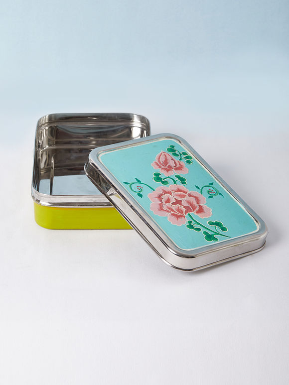 Green Blue Hand Painted Steel Lunch Box