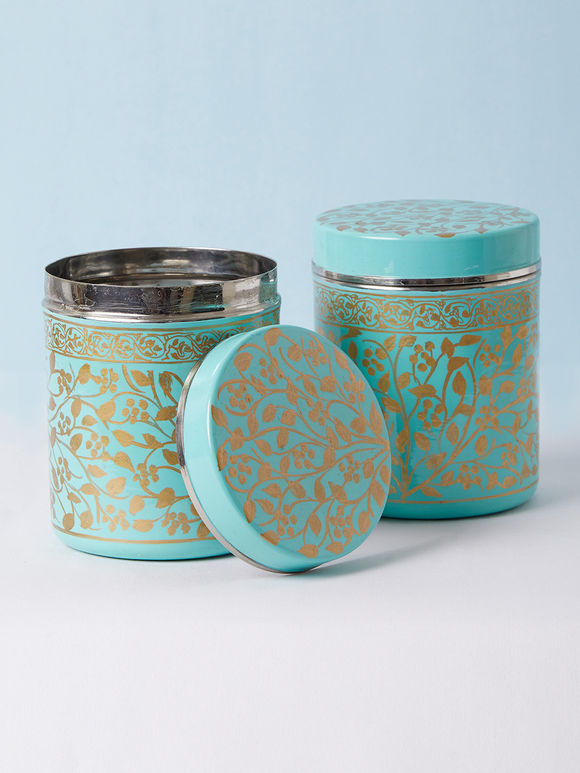 Turquoise Hand Painted Steel Canisters - Set of 2
