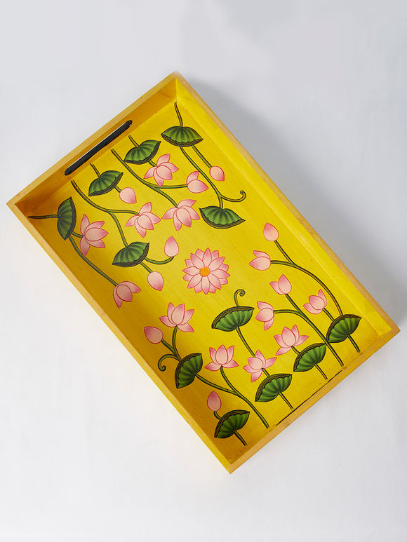 Yellow Lotus Hand Painted Wooden Tray
