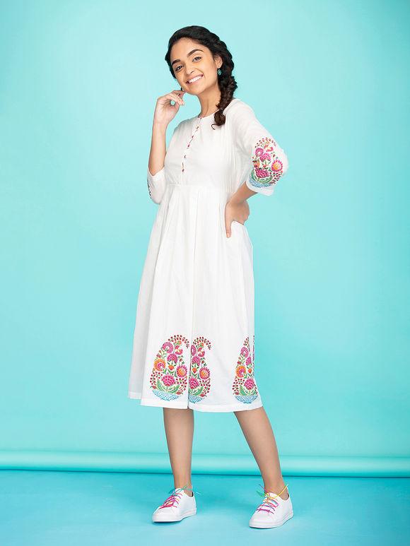 White Pink Hand Block Printed Cotton Dress
