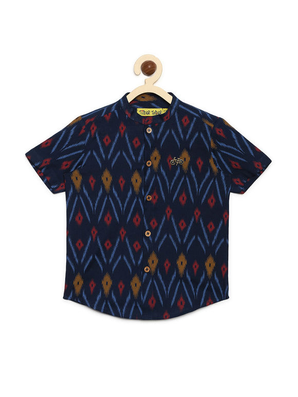 Navy Blue Ikat Printed Cotton Shirt