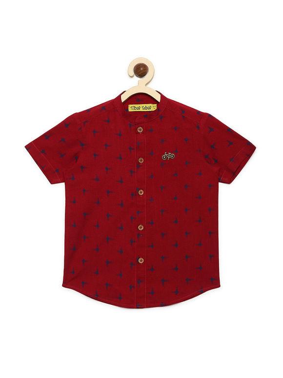 Red Ikat Printed Cotton Shirt