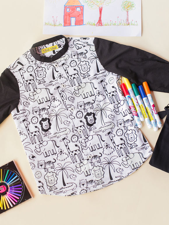 White Black Cartoon Printed Cotton Shirt with Fabric Pens