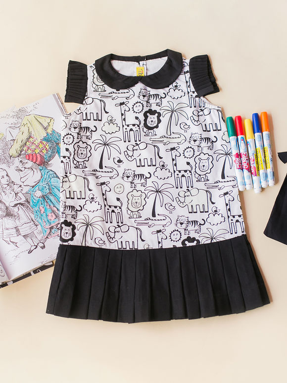 White Black Cartoon Printed Cotton Dress with Fabric Pens
