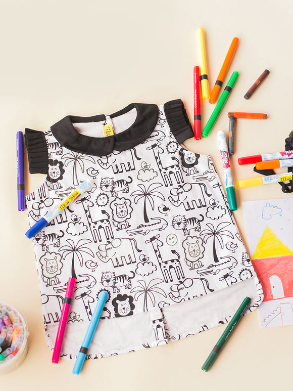 White Black Cartoon Printed Cotton Top with Fabric Pens