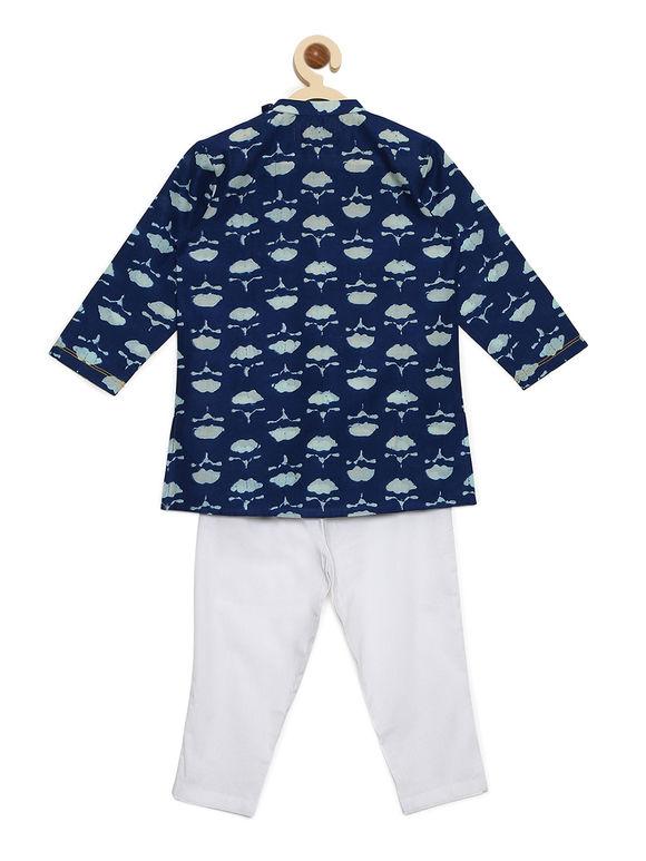 Blue Printed Cotton Kurta with White Pyjama - Set of 2