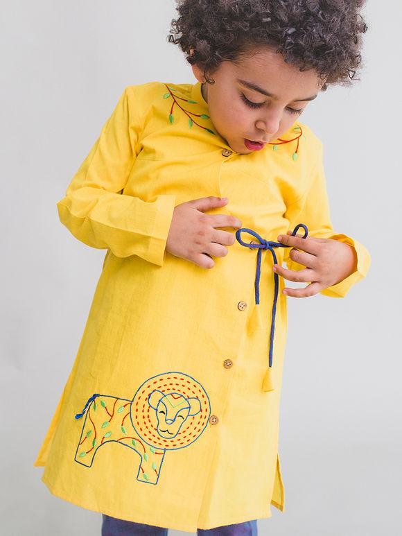 Yellow Embroidered Cotton Kurta with Purple Pajama - Set of 2