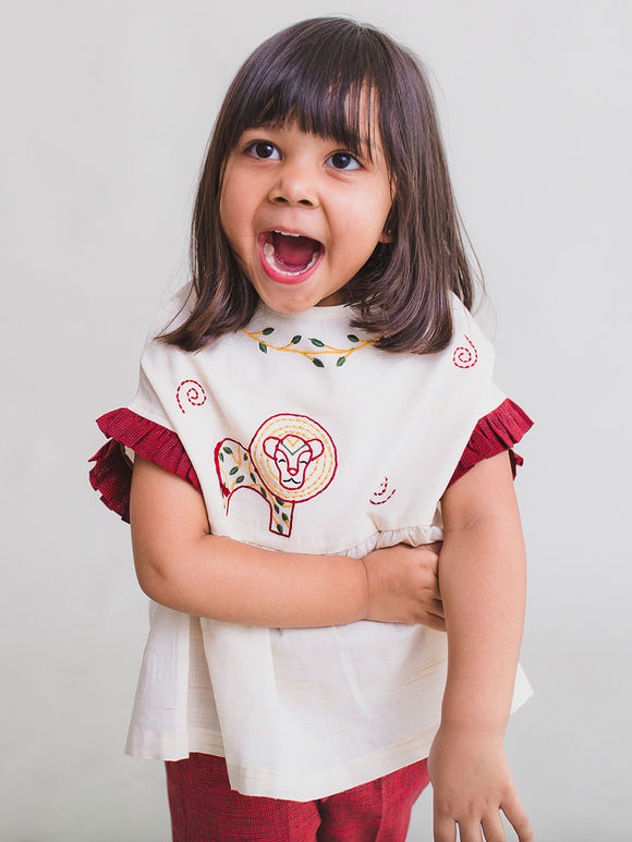 White Embroidered Cotton Gathered Top with Red Pants - Set of 2