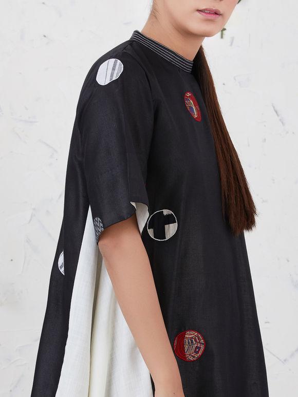 Black Off White Cotton Patchwork Dress