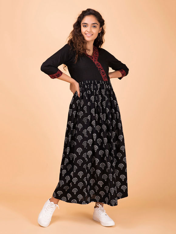 Black Hand Block Printed Cotton Dress
