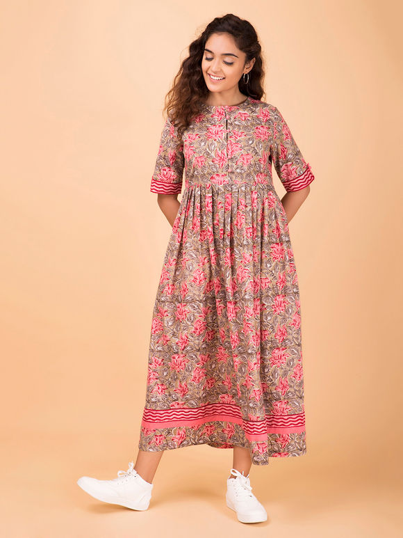 Brown Pink Hand Block Printed Cotton Dress