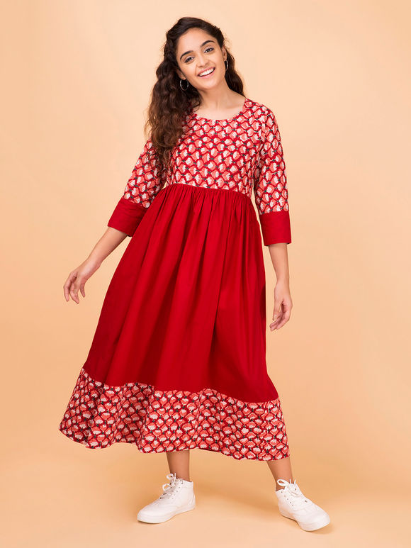Red Hand Block Printed Cotton Dress