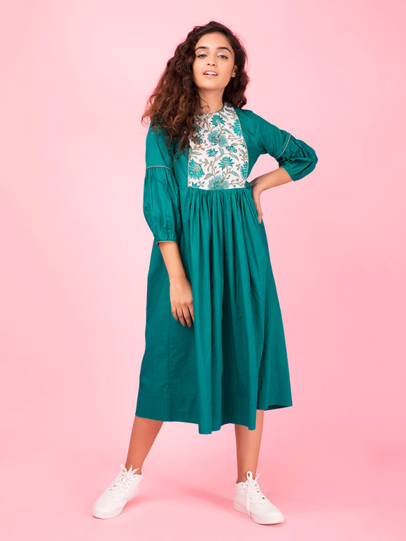 Emerald Green Hand Block Printed Cotton Dress