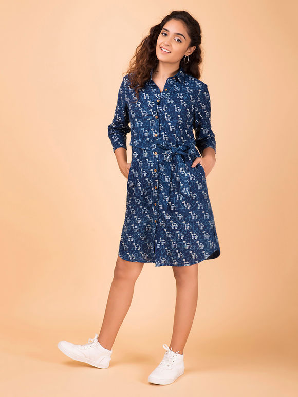 Indigo Hand Block Printed Cotton Shirt Dress