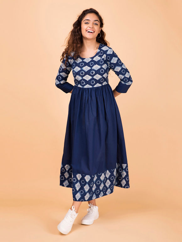 Indigo Hand Block Printed Cotton Dress