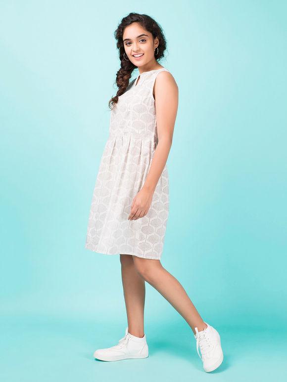 Ivory Hand Block Printed Cotton Dress