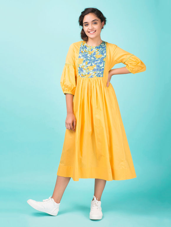 Yellow Hand Block Printed Cotton Dress
