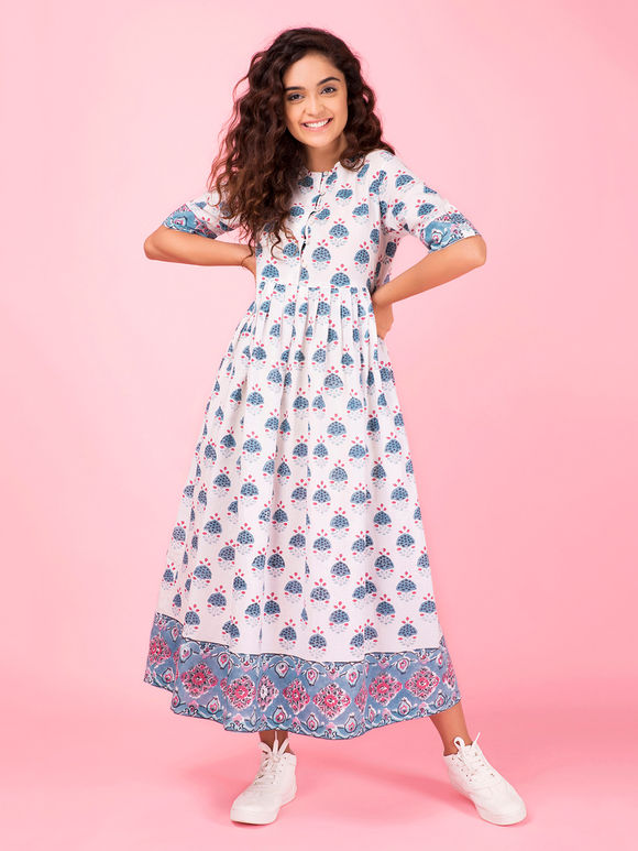 White Blue Hand Block Printed Cotton Dress