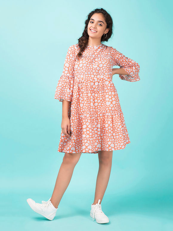 Peach Hand Block Printed Cotton Dress