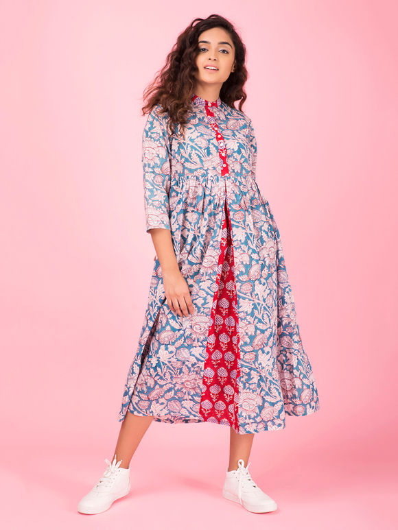 Blue Red Hand Block Printed Cotton Dress