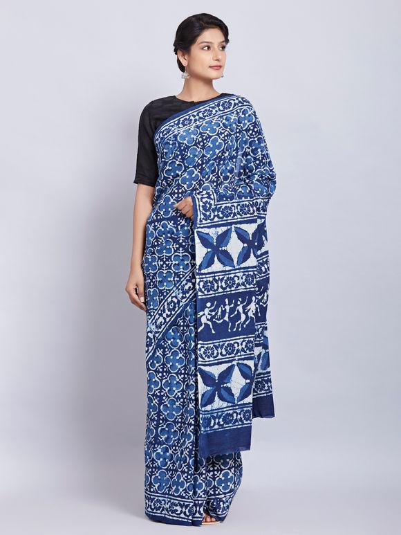 Indigo Hand Block Printed Cotton Saree