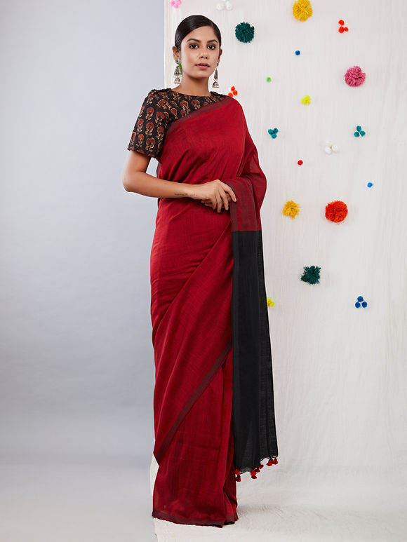 Maroon Black Cotton Saree