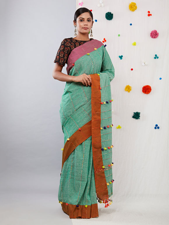 Green Khesh Cotton Saree