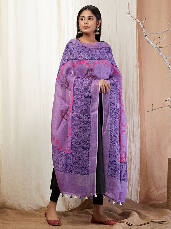 Purple Hand Block Printed Linen Dupatta