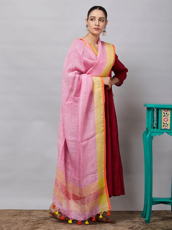 Light Pink Zari Handwoven Linen Dupatta