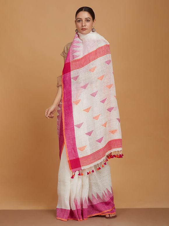 White Orange Handwoven Linen Jamdani Saree