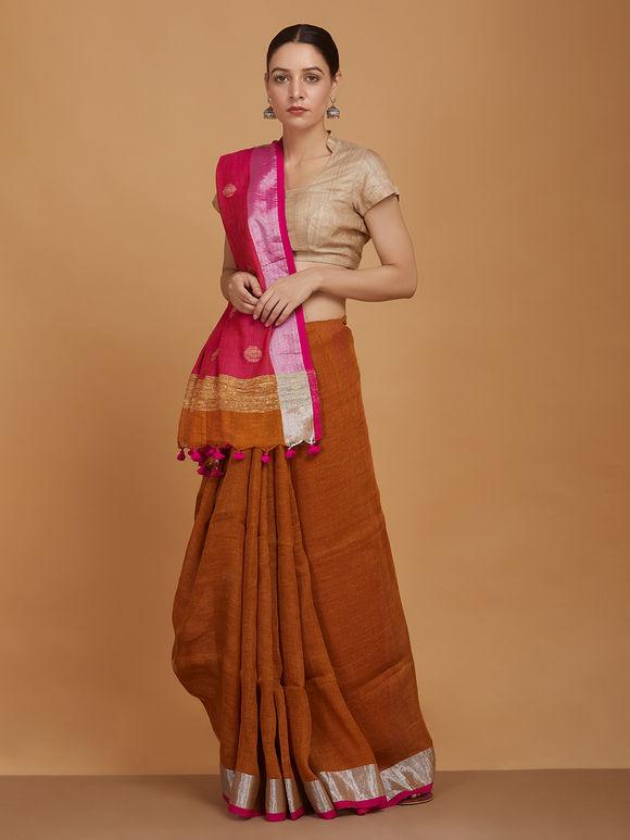 Brown Pink Zari Handwoven Linen Jamdani Saree