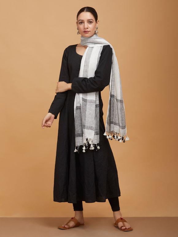 White Grey Handwoven Linen Stole