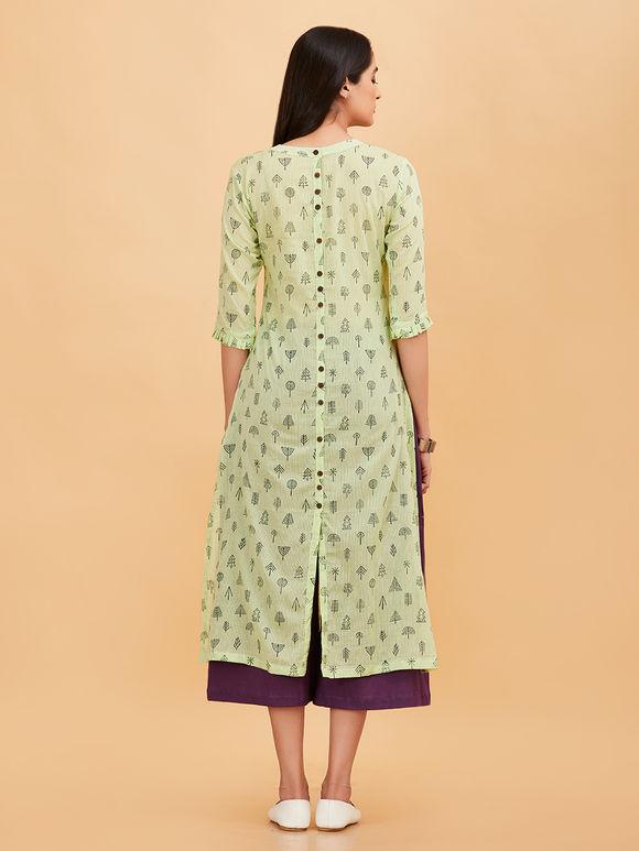 Green Hand Block Printed Cotton Kurta
