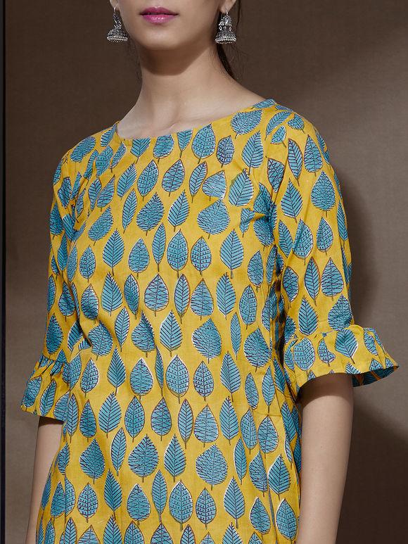 Green Yellow Hand Block Printed Cotton Dress