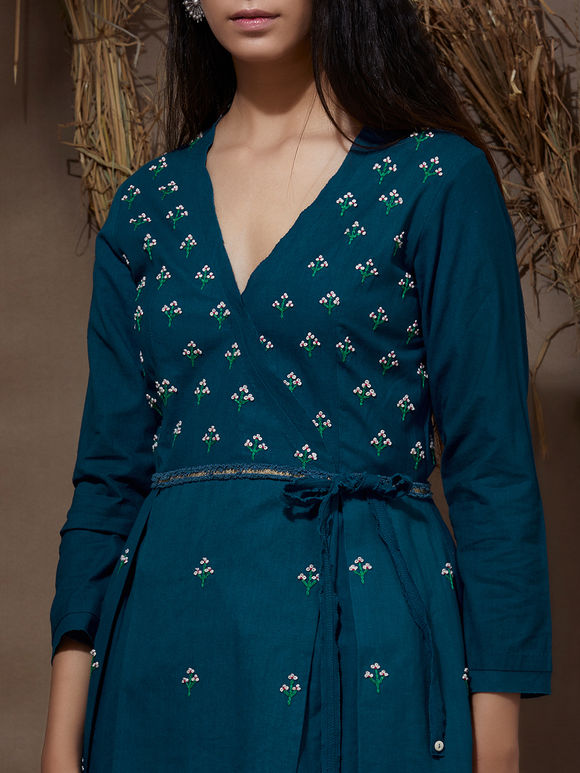 Teal Blue Hand Embroidered Khadi Cotton Wrap Kurta with Red Organdy Skirt- Set of 2