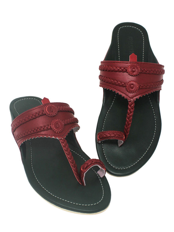 Green Maroon Handcrafted Leather Slip-Ons