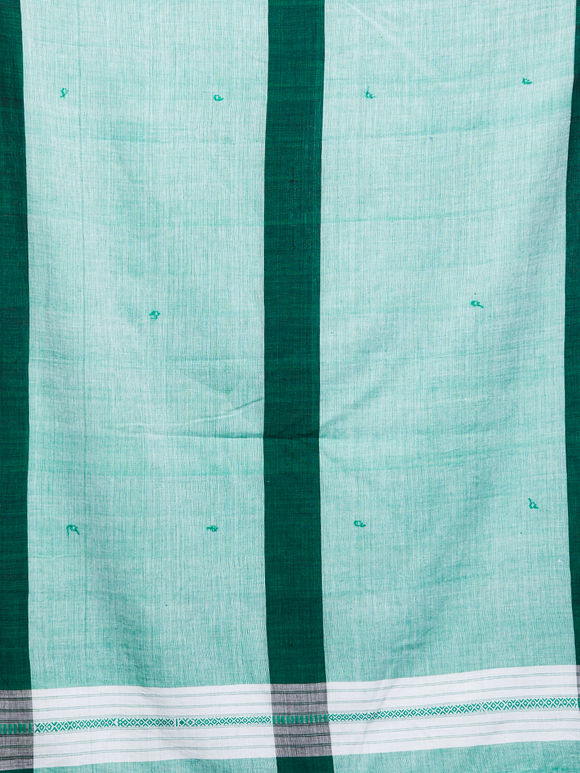 Green White Cotton Dupatta