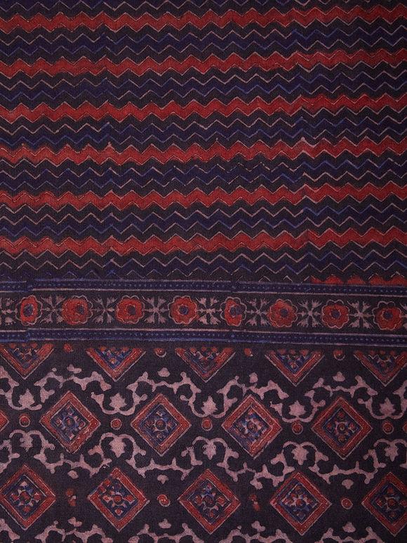 Black Maroon Ajrakh Hand Block Printed Cotton Bed Sheet