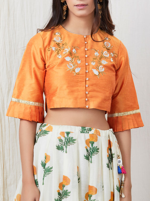 White Floral Printed Cotton Lehenga with Orange Embroidered Silk Viscose Blouse and Gota Chanderi Dupatta - Set of 3