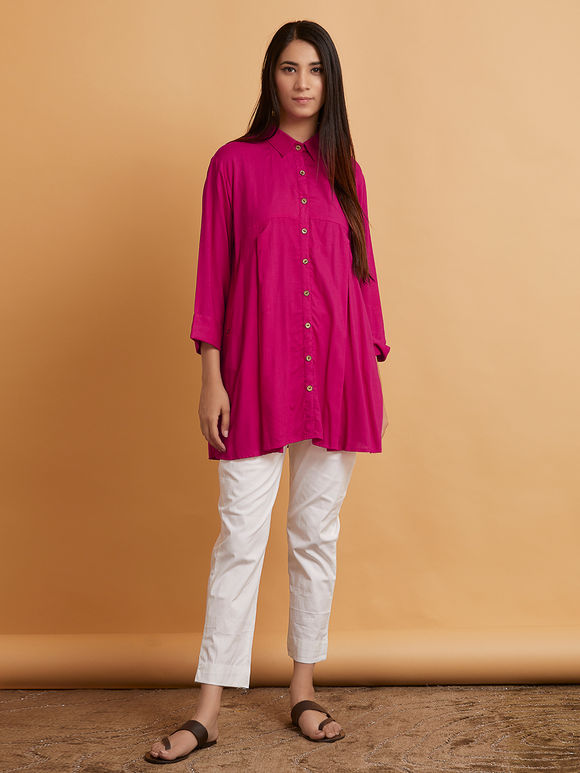Magenta Cotton Pleated Shirt