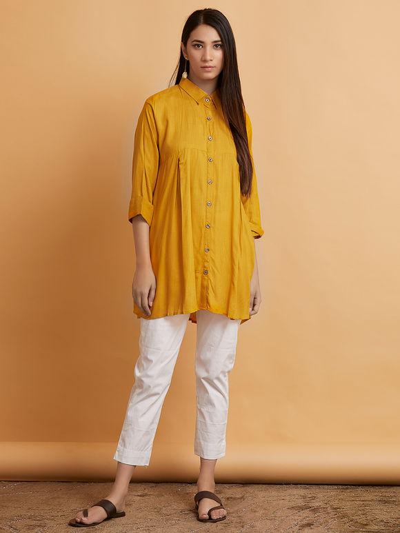 Mustard Yellow Cotton Pleated Shirt
