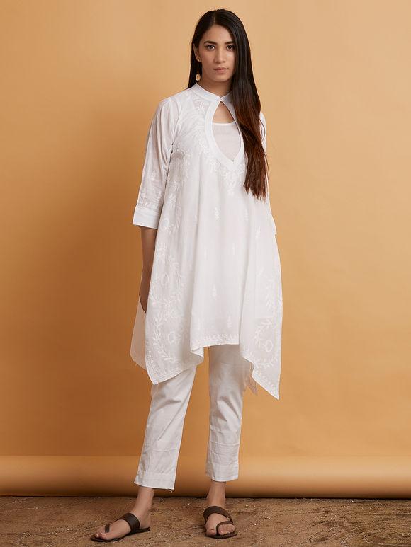 White Chikankari Mulmul Asymmetric Top with Slip- Set of 2