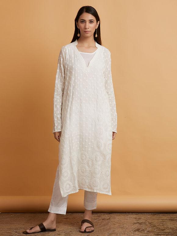 Off White Chikankari Cotton Kurta