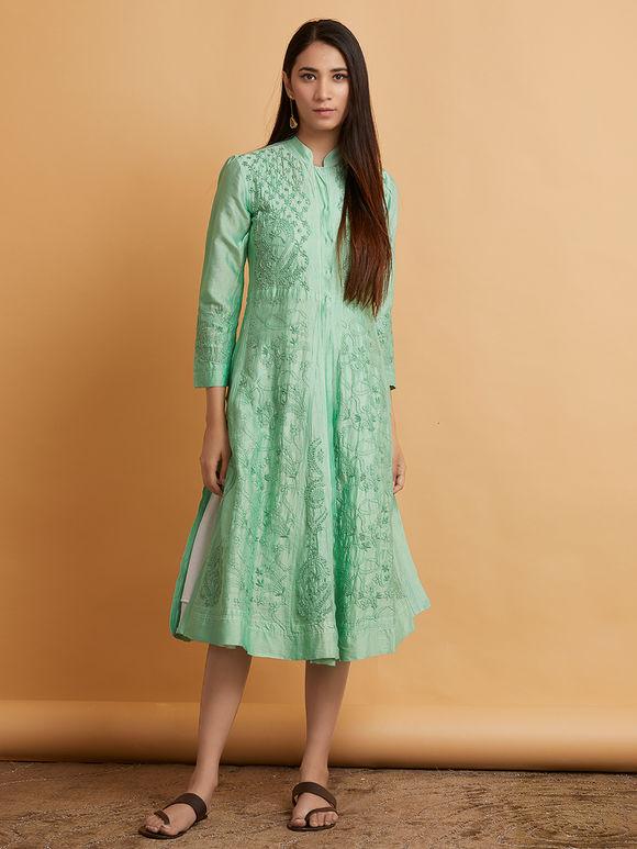 Mint Green Chikankari Chanderi Dress with White Layered Mulmul Slip- Set of 2