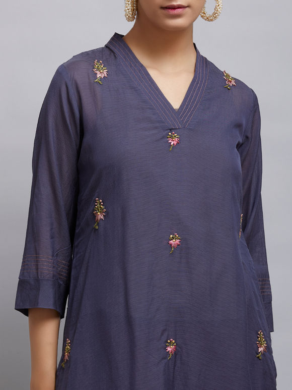Navy Blue Embroidered Cotton Silk Kurta
