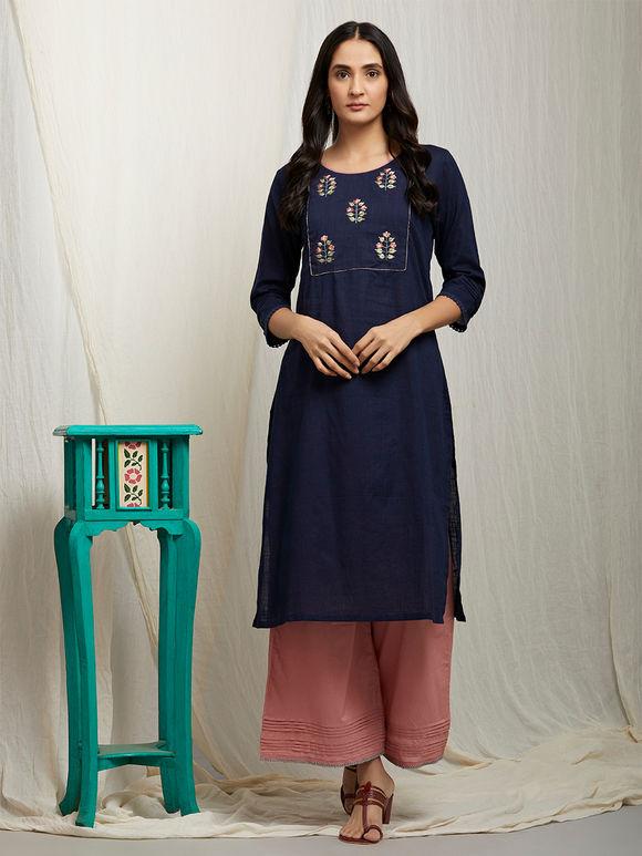 Navy Blue Thread Embroidered Cotton Linen Kurta with Mauve Palazzo and Peach Chanderi Dupatta - Set of 3
