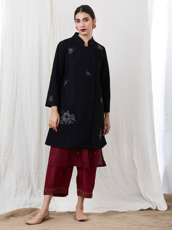 Black Hand Embroidered Felt Jacket with Wine Habutai Silk Pants and Chanderi Dupatta- Set of 3