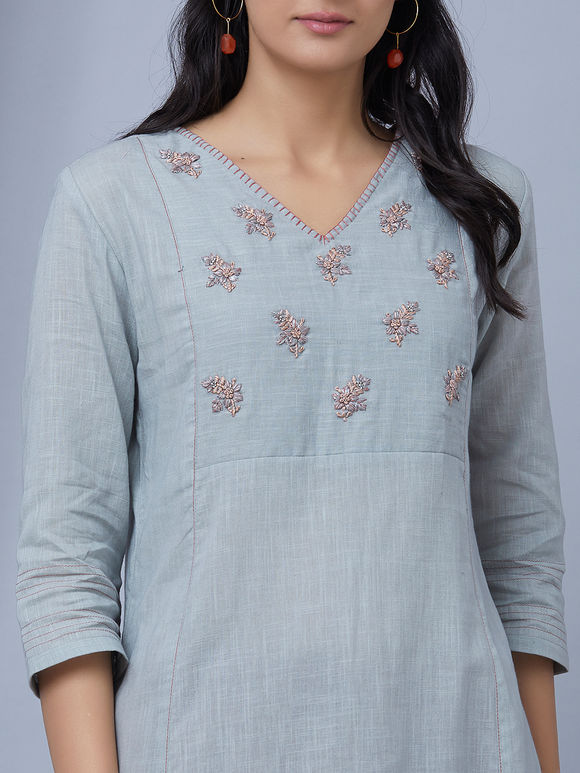 Powder Blue Hand Embroidered Cotton Linen Kurta