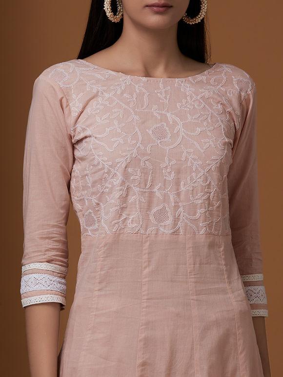 Peach Cotton Chikankari Suit - Set of 3