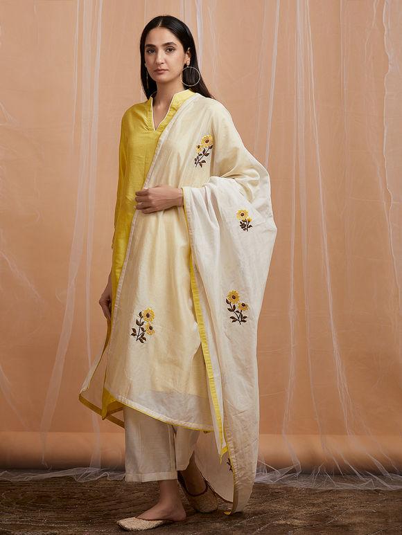 White Yellow Embroidered Chanderi Dupatta